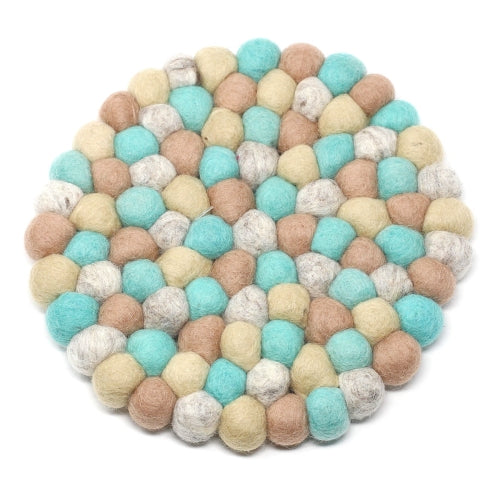 Hand Crafted Felt Ball Trivets from Nepal: Round, Sky