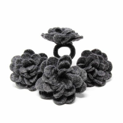Charcoal Zinnias Felt Napkin Rings, Set of 4