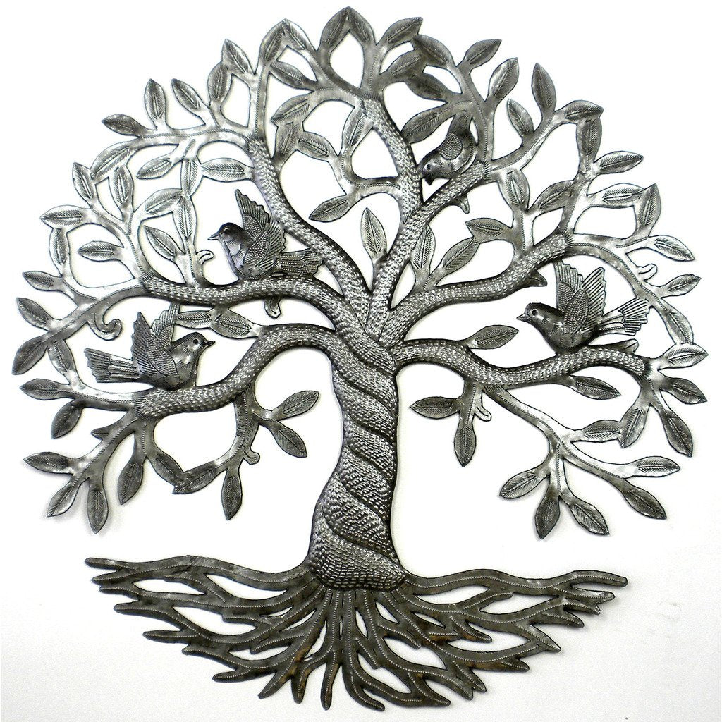 Twisted Tree of Life with Birds Haitian Metal Drum Wall Art, 24""