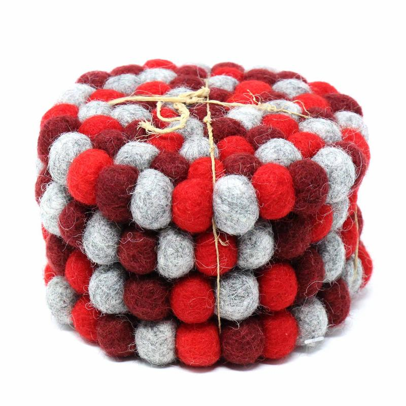 Hand Crafted Felt Ball Coasters from Nepal: 4-pack Chakra, Reds
