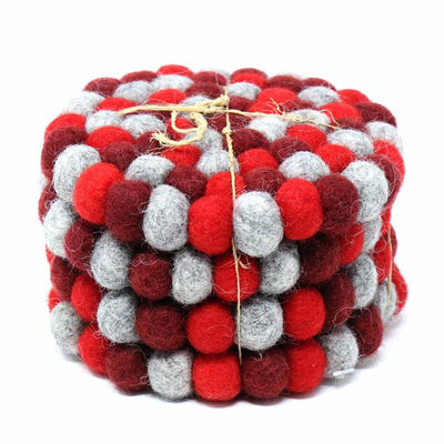 Root Chaka Red Felt Ball Coasters, Set of 4