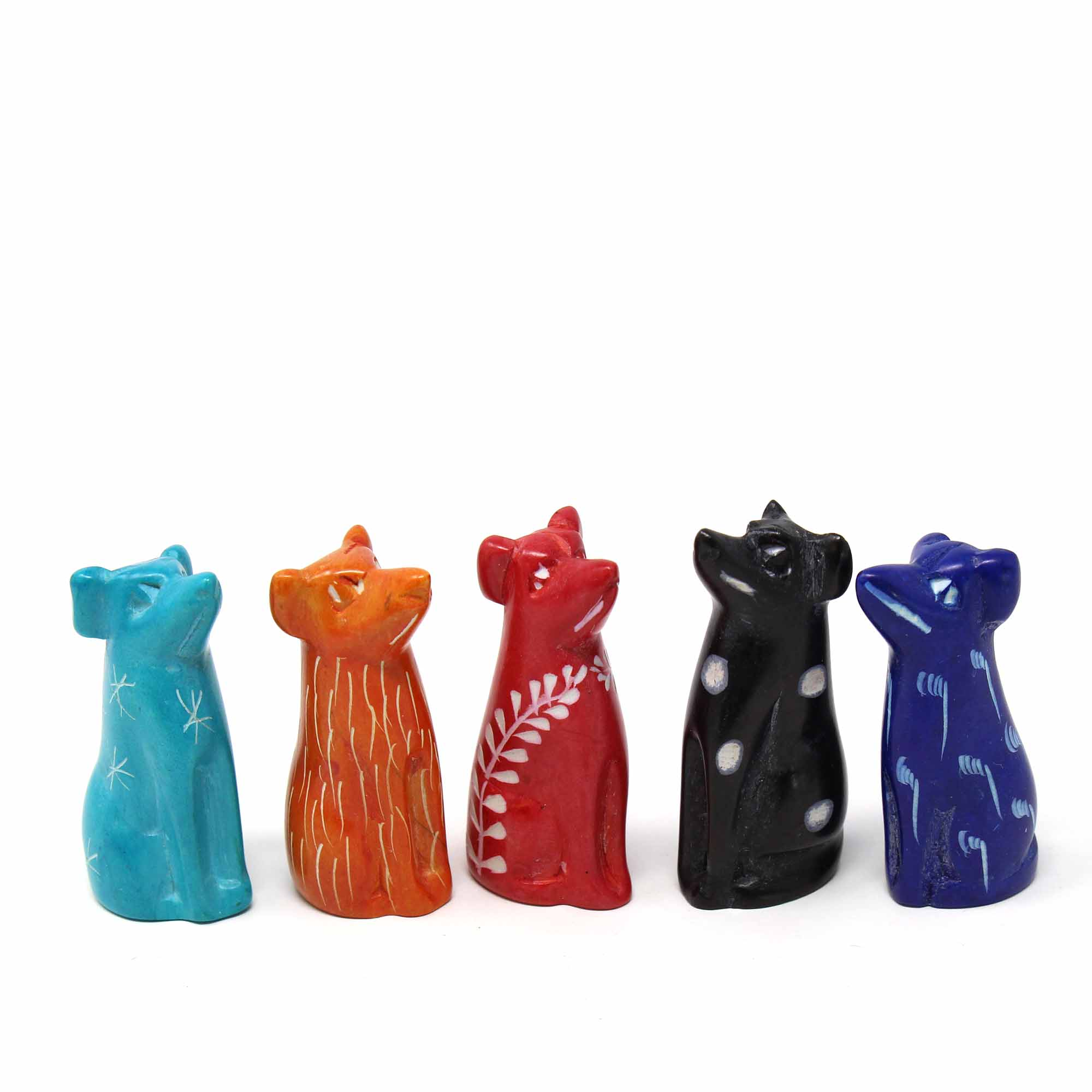 Soapstone Tiny Dogs - Assorted Pack of 5 Colors