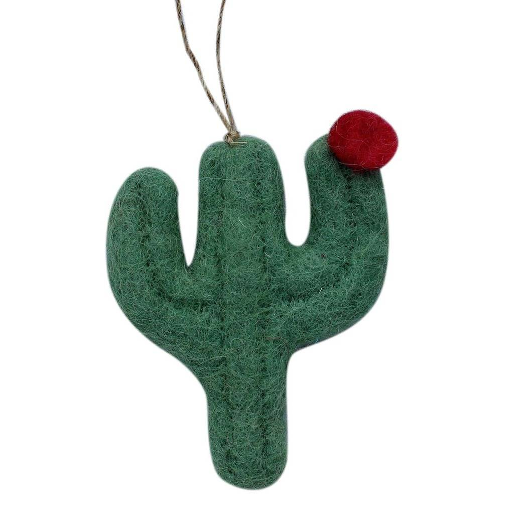 Hand Crafted Felt from Nepal: Ornament, Green Flat Cactus