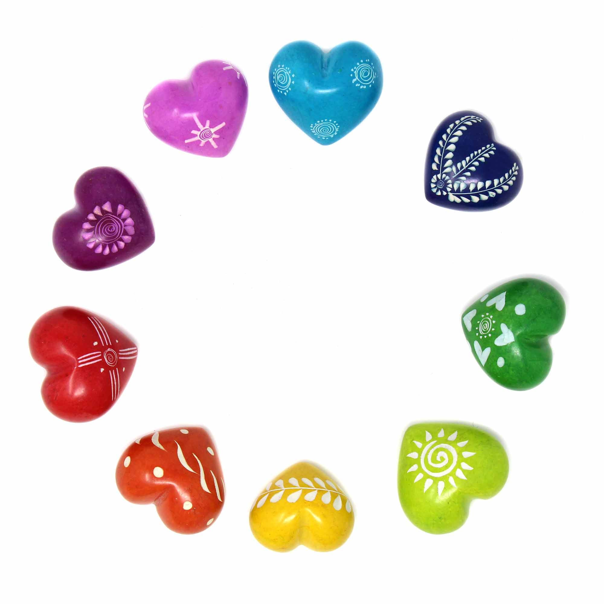 Soapstone Hearts in Assorted Colors with Designs- Approx 3cm (1 inch)