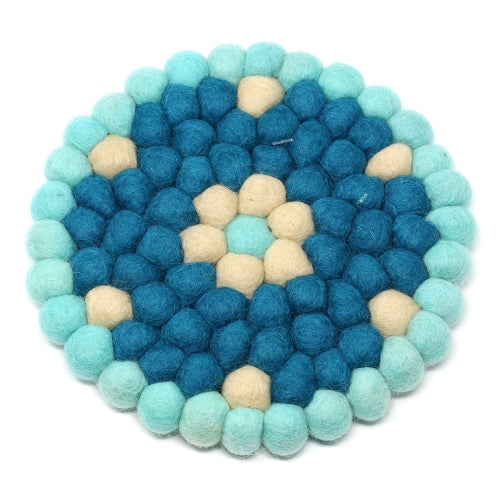 Hand Crafted Felt Ball Trivets from Nepal: Round Flower Design, Turquoise