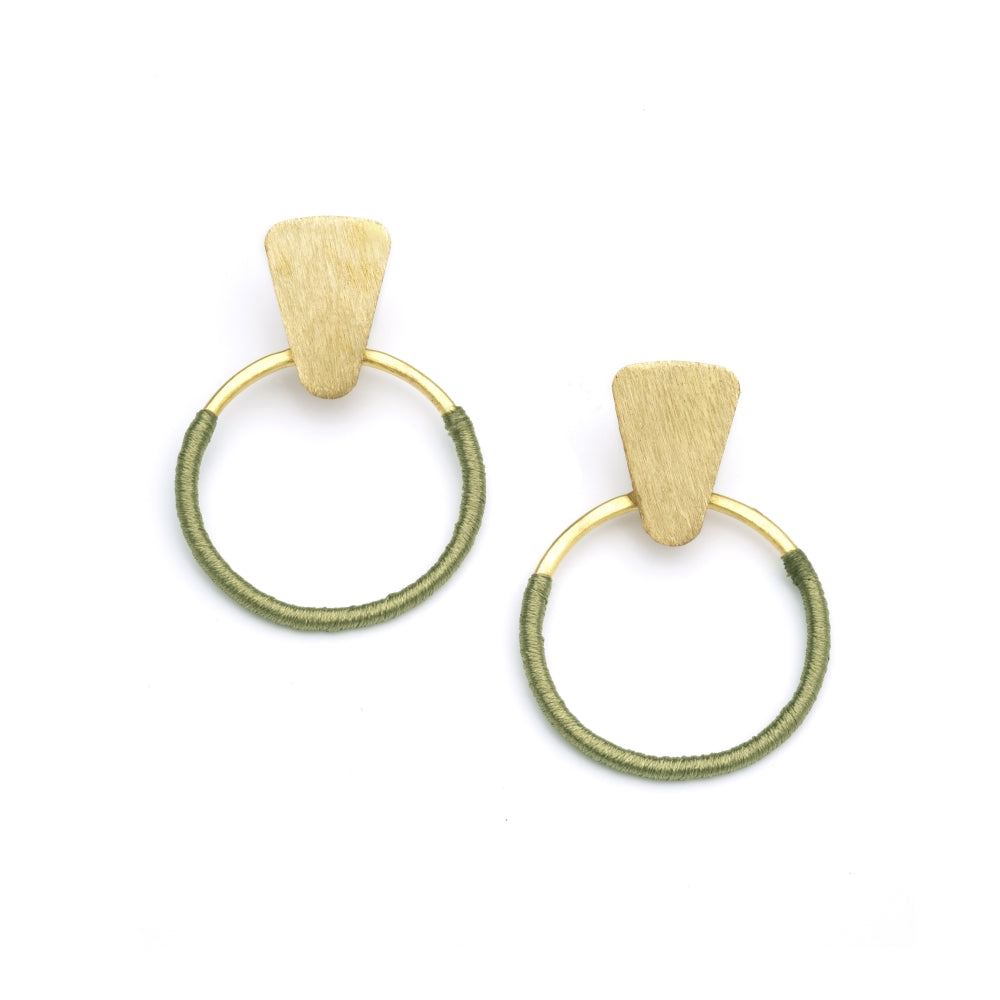 Kaia Earrings - Olive Hoops