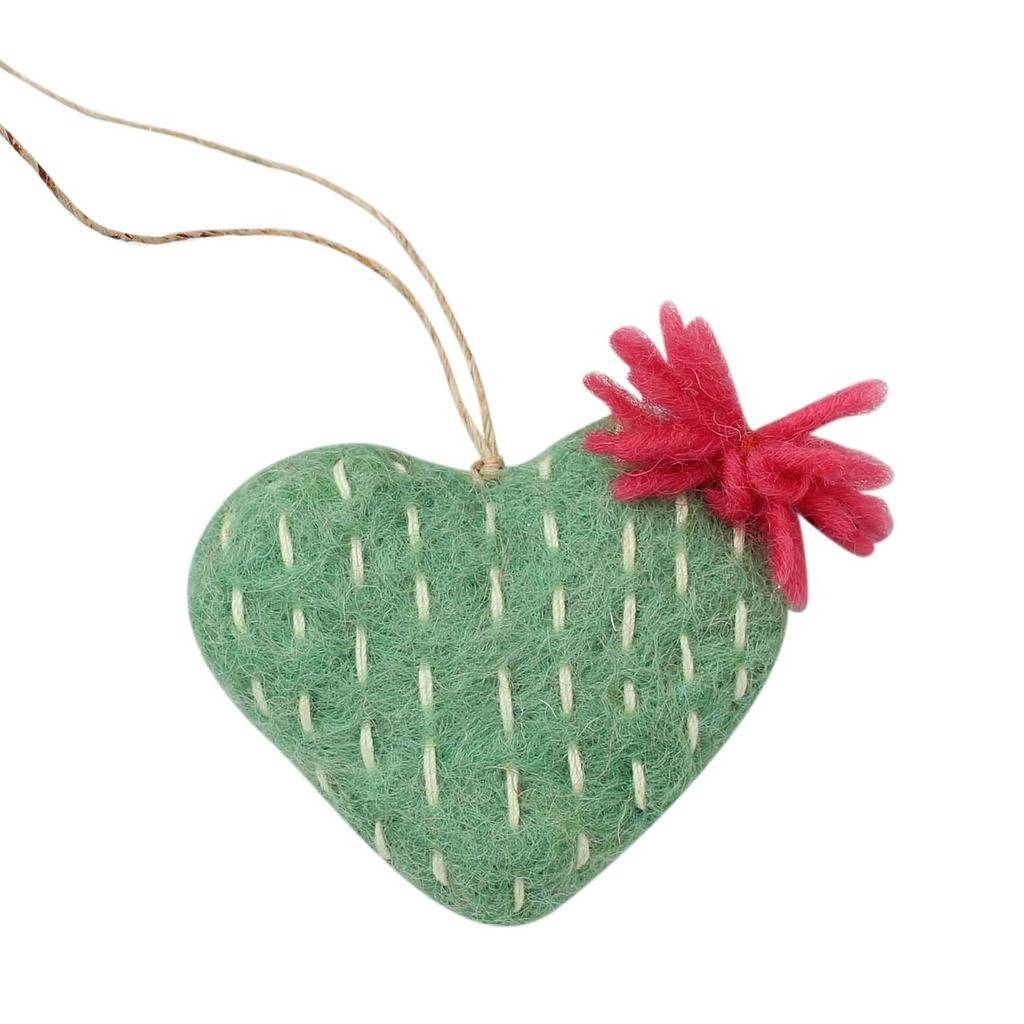 Hand Crafted Felt from Nepal: Ornament, Sage Heart Cactus with Red Flower