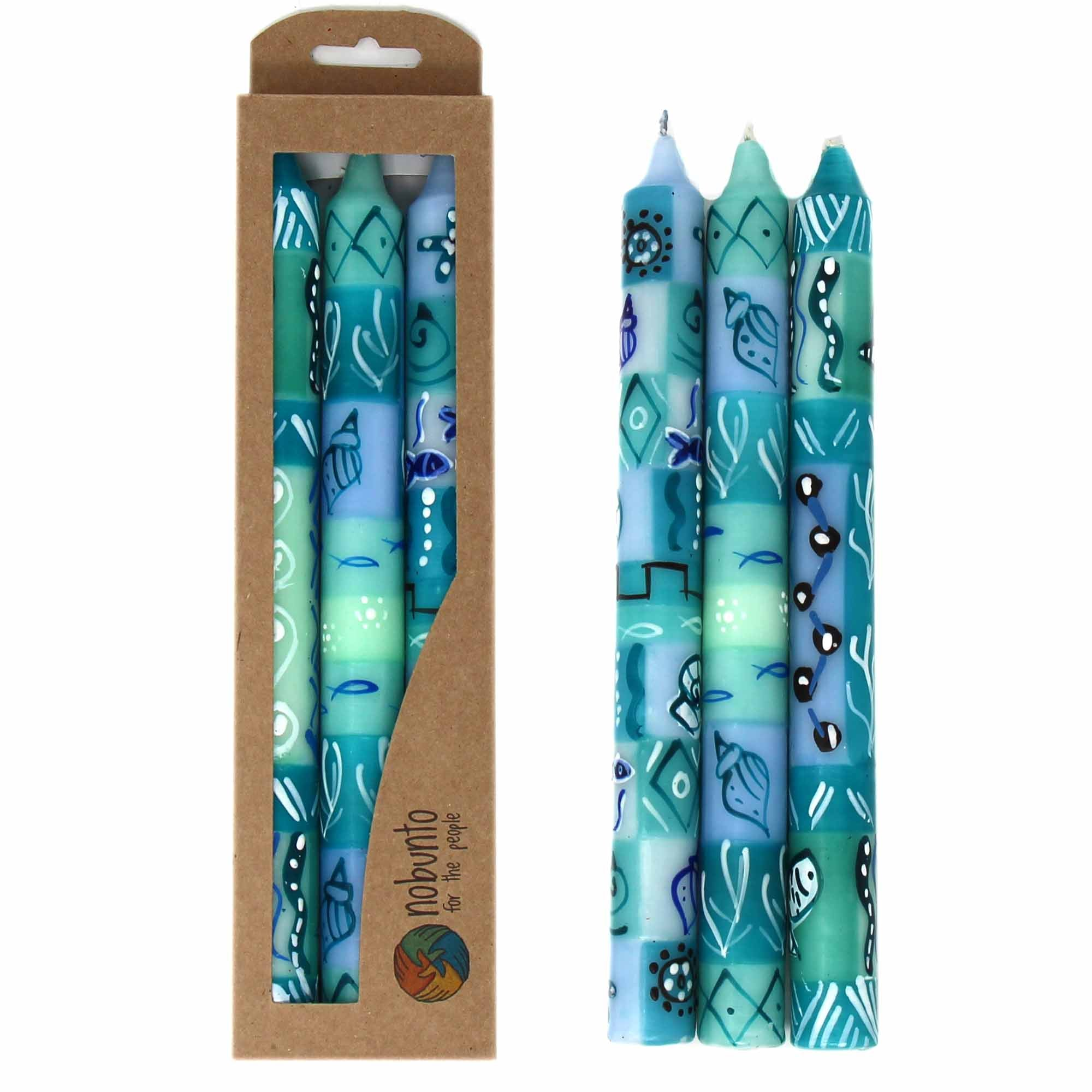 Hand-Painted Dinner Candles, Set of 3 (Samaki Design)