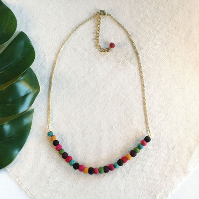 Delicate Kantha Sari Bead Necklace
