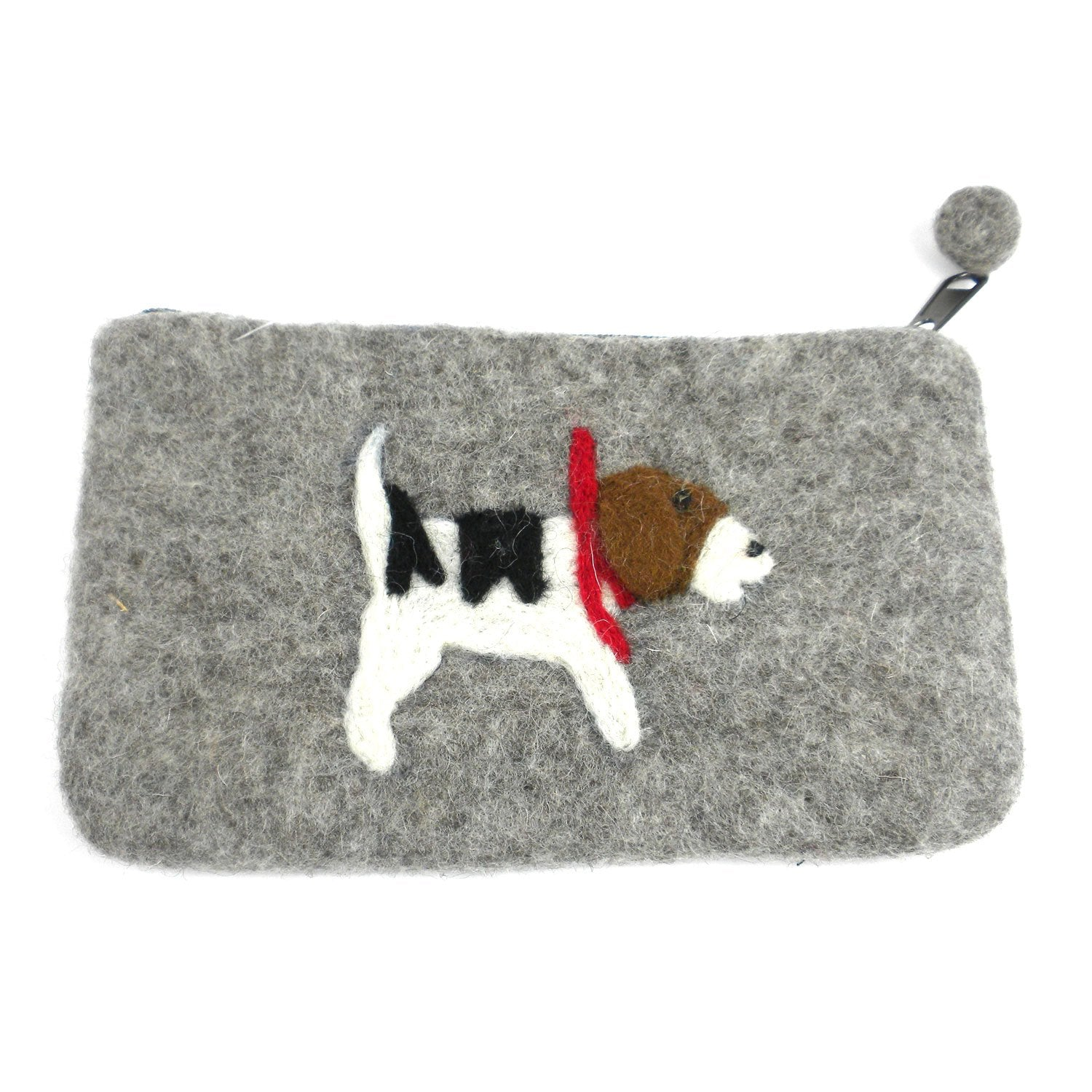 "Hand Crafted Felt Pouch from Nepal: 8"" x 4.5"", Jack Russell"