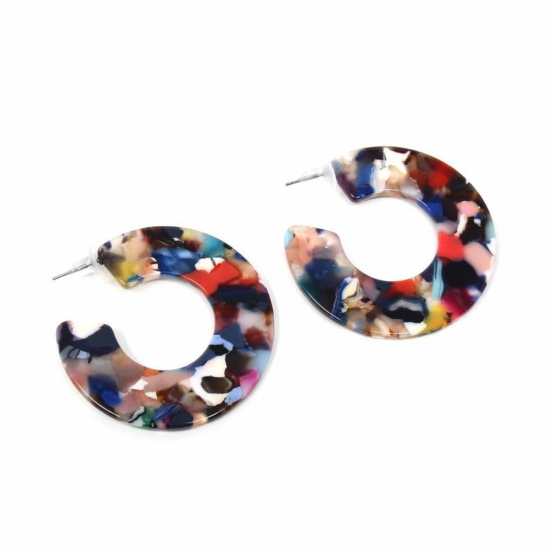 Earrings: Multicolored Resin Hoops