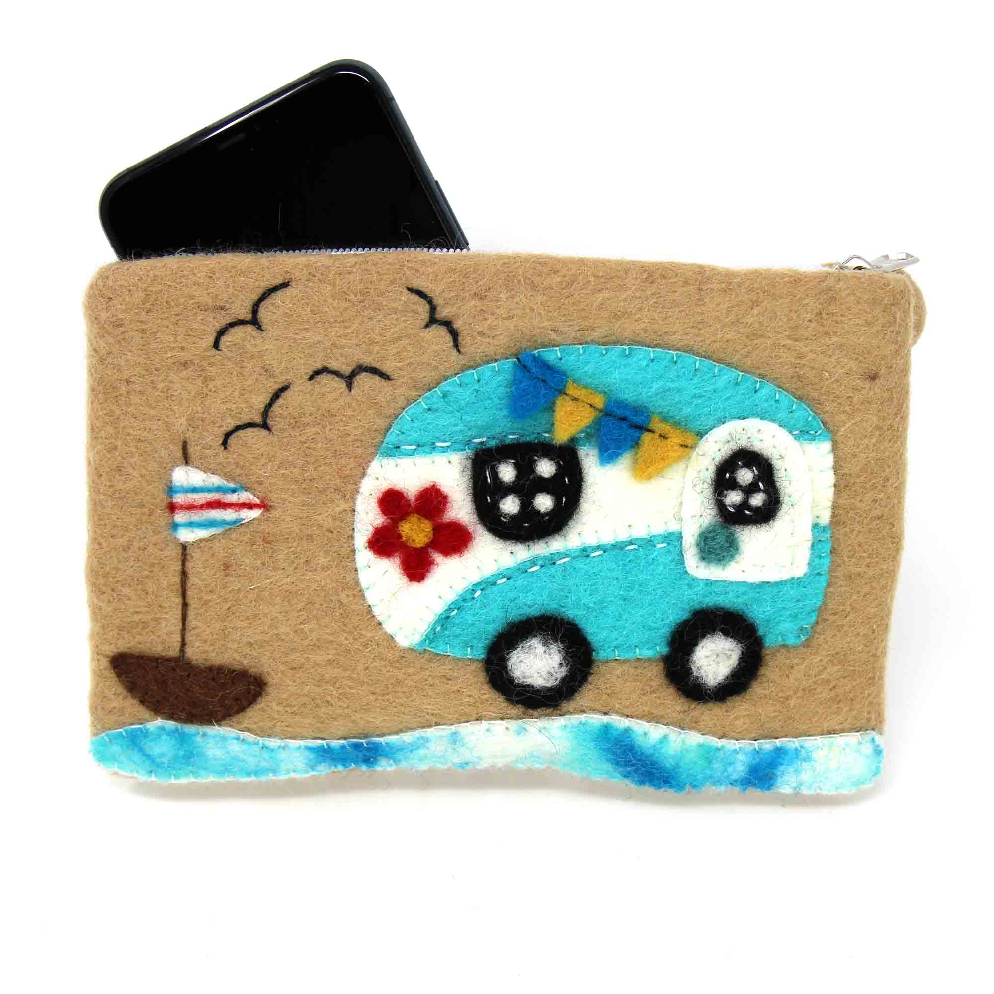 Happy Camper Van Felt Zipper Pouch