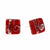 Small Square Glass Stud Earrings - Red and Silver Swirls