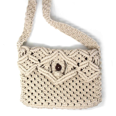 Macramé Shoulder Crossbody Bag, Cream with Button