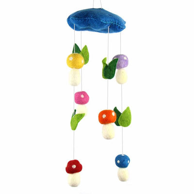 Blue Mushrooms Felt Nursery Mobile