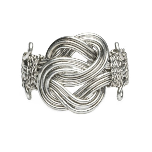 Buddha Knot Ring - Silver tone - Set of 6