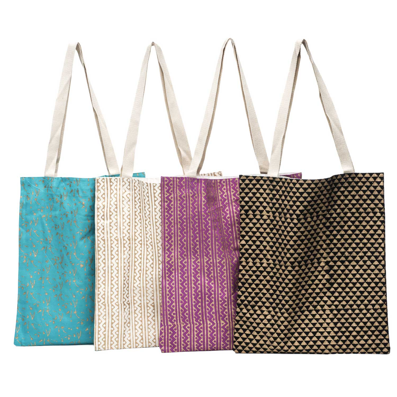 Metallic Block Print Shopper- Set of 4