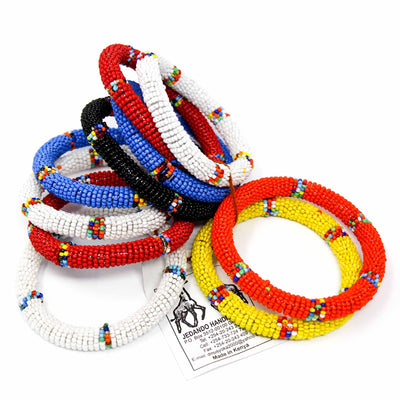 Maasai Bead Bangles, Set of 10 Mixed