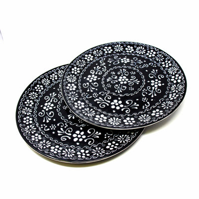 "Encantada Handmade Pottery 11.75"" Set of 2 Dinner Plates, Ink"