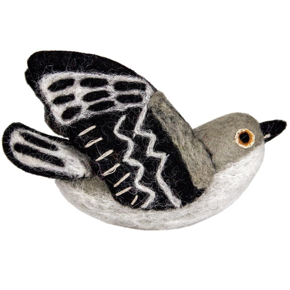 Wild Woolies Felt Bird Garden Ornament - Mockingbird