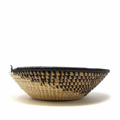 Woven Sisal Basket, Spiral Pattern in Natural/Black