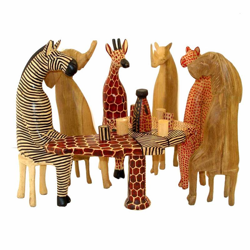 Mahogany Safari Party Animals Sculpture Carving