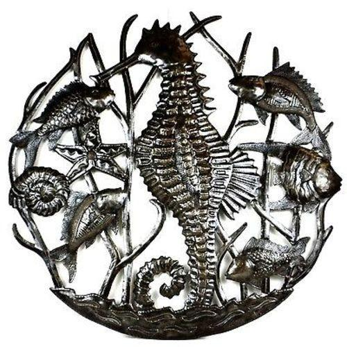CLEARANCE Seahorse & Fish Nautical Haitian Metal Drum Wall Art, 24""