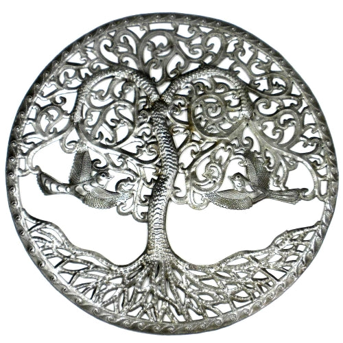 Curly Tree of Life Ringed Haitian Metal Drum Wall Art, 24""