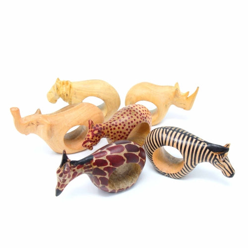 Mahogany Safari Animal Napkin Rings, Set of 6