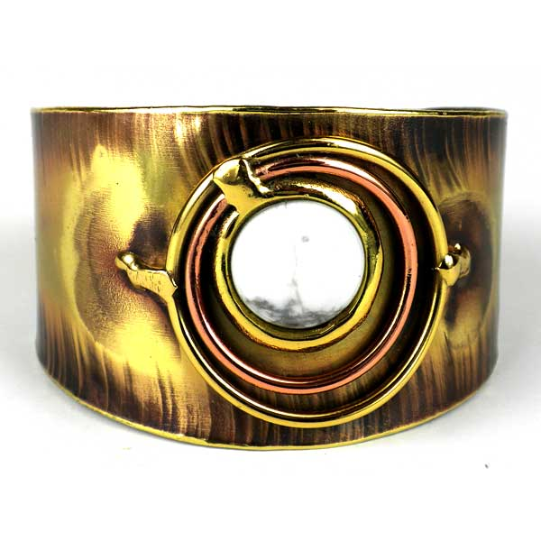 Concentric Howlite Brass and Copper Cuff