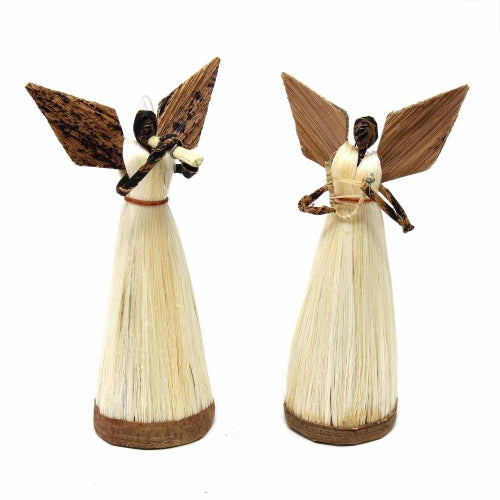 Standing Sisal Angels, Set of 2 - Music Instruments (5-inch)