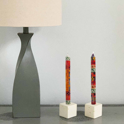 Hand-Painted Dinner Candles, Set of 3 (Indabuko Design)