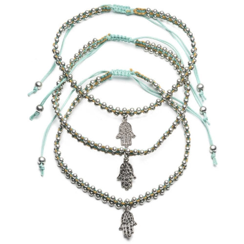 Bright Hamsa Anklets - Teal -Set of 3