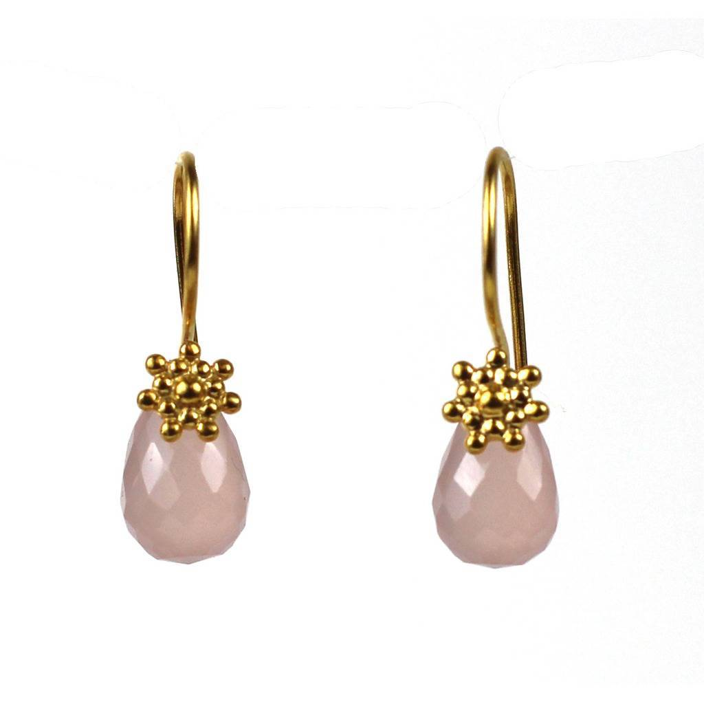 Rosy Sun Drop Earring with Chalcedony Gem