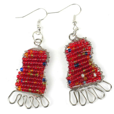Beaded Feet Earrings - Colors Vary