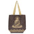 Metallic Buddha Jute Tote - Mocha Brown