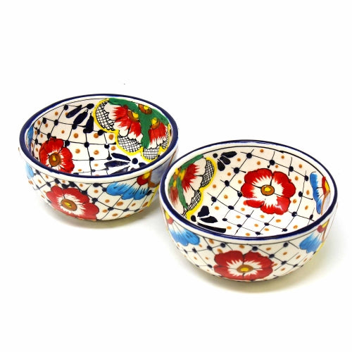 Encantada Handmade Pottery 5.5-inch, Set of 2 Bowls, Dots & Flowers