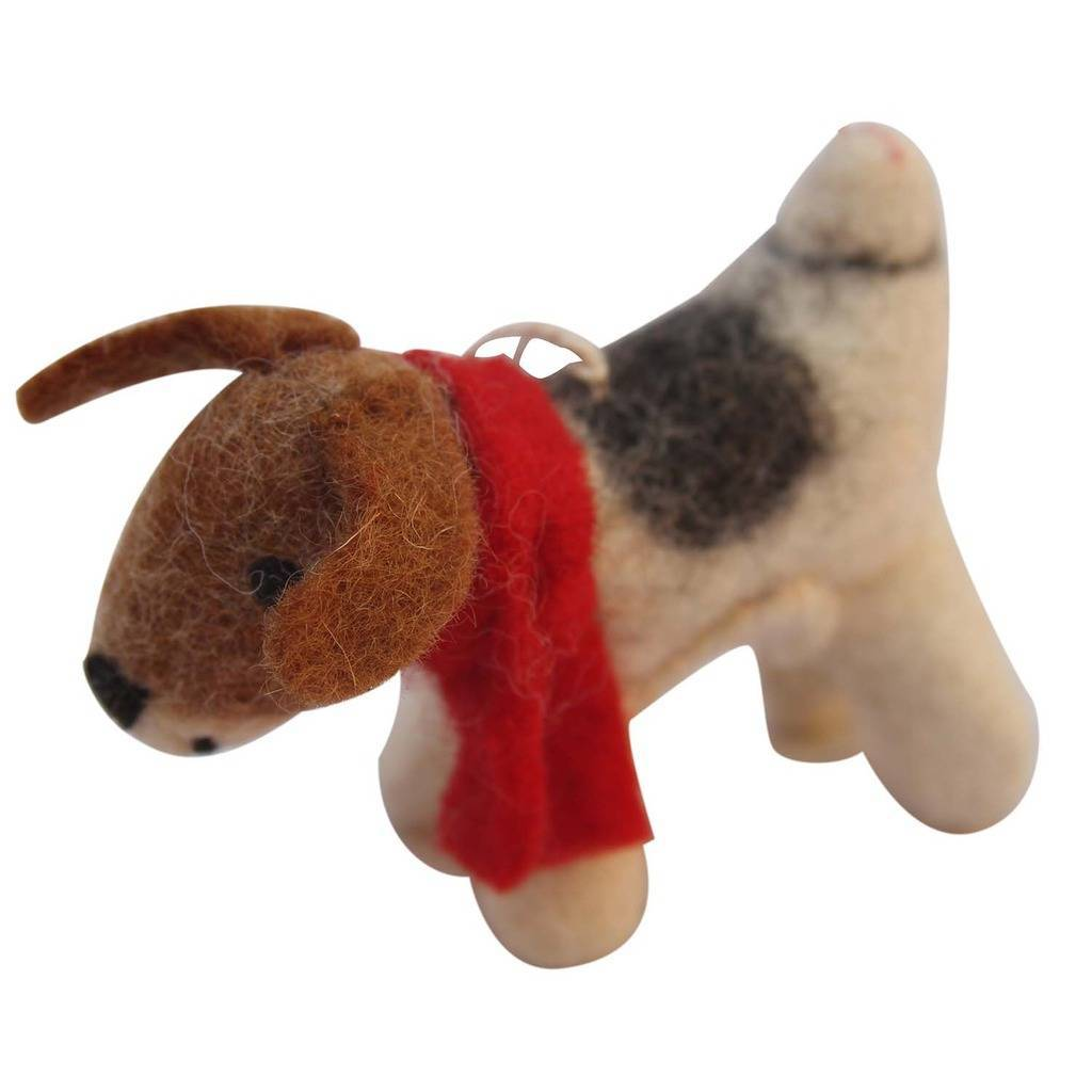 Hand Crafted Felt from Nepal: Ornament, Beagle