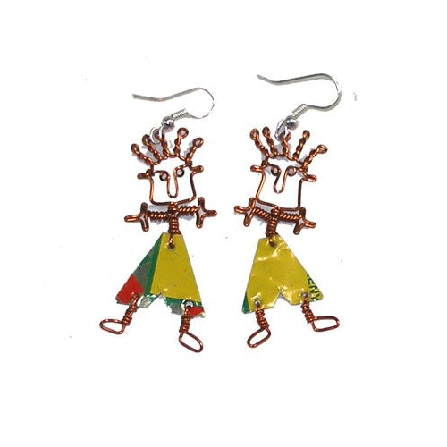 Dancing Boy Earrings with Tin Can Body