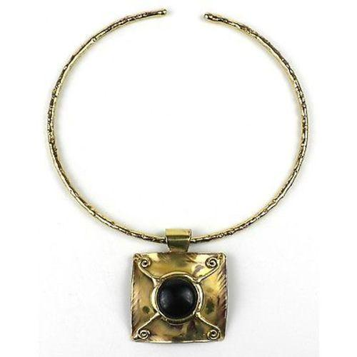X Squared Dark Blue Tiger Eye Brass Pendant Necklace