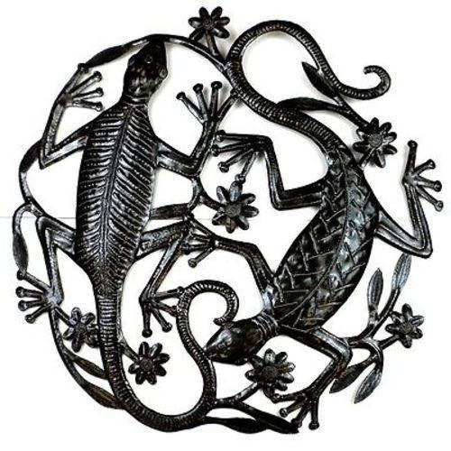 CLEARANCE Two Geckos Haitian Metal Drum Wall Art, 24""