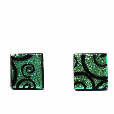 Square Glass Stud Earrings, Aqua Swirls