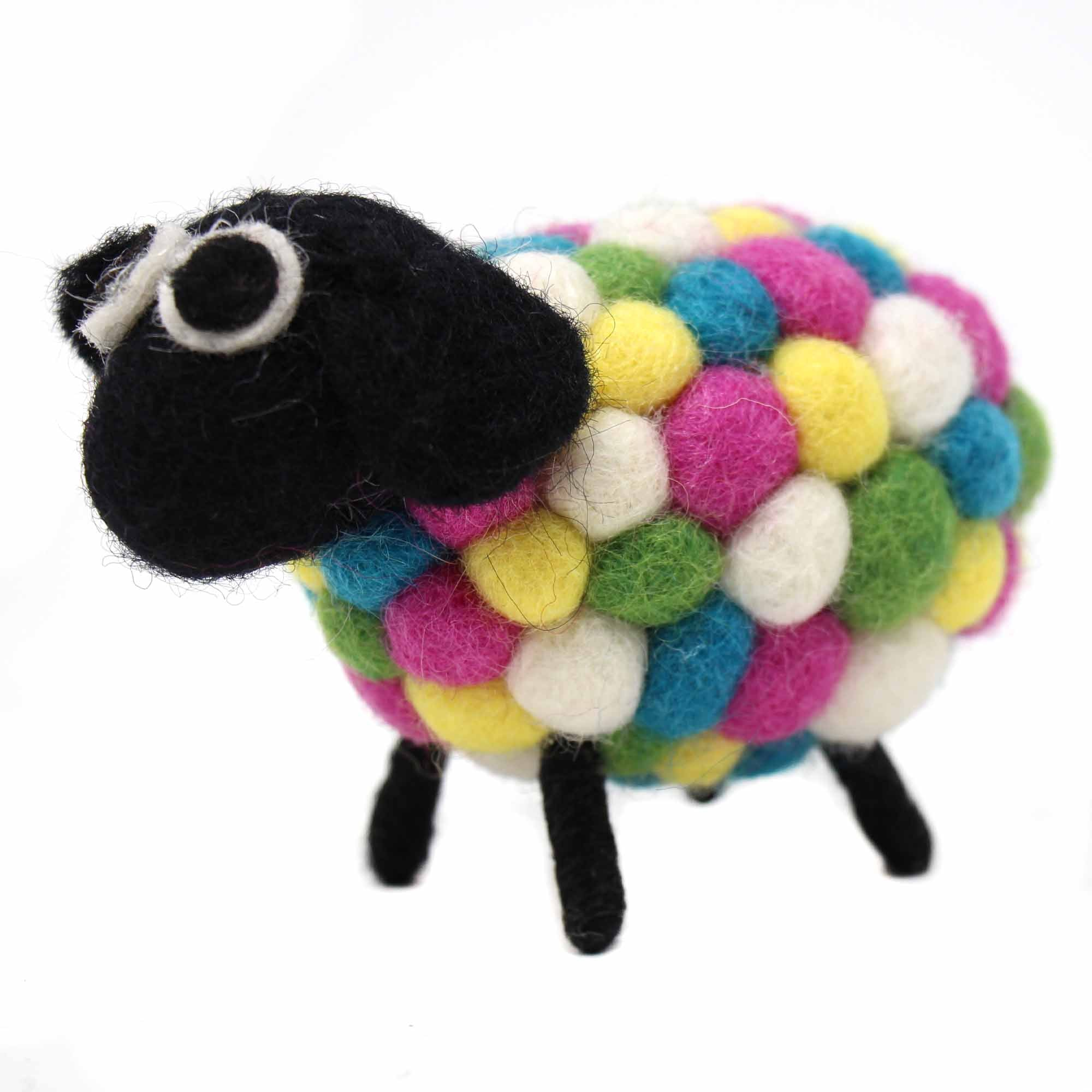 Hand Crafted Felt Ball Sheep, Brights Small 10cm
