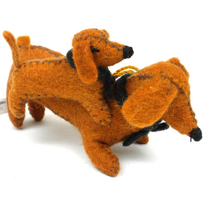 Felt Dachshund with Puppy Ornament