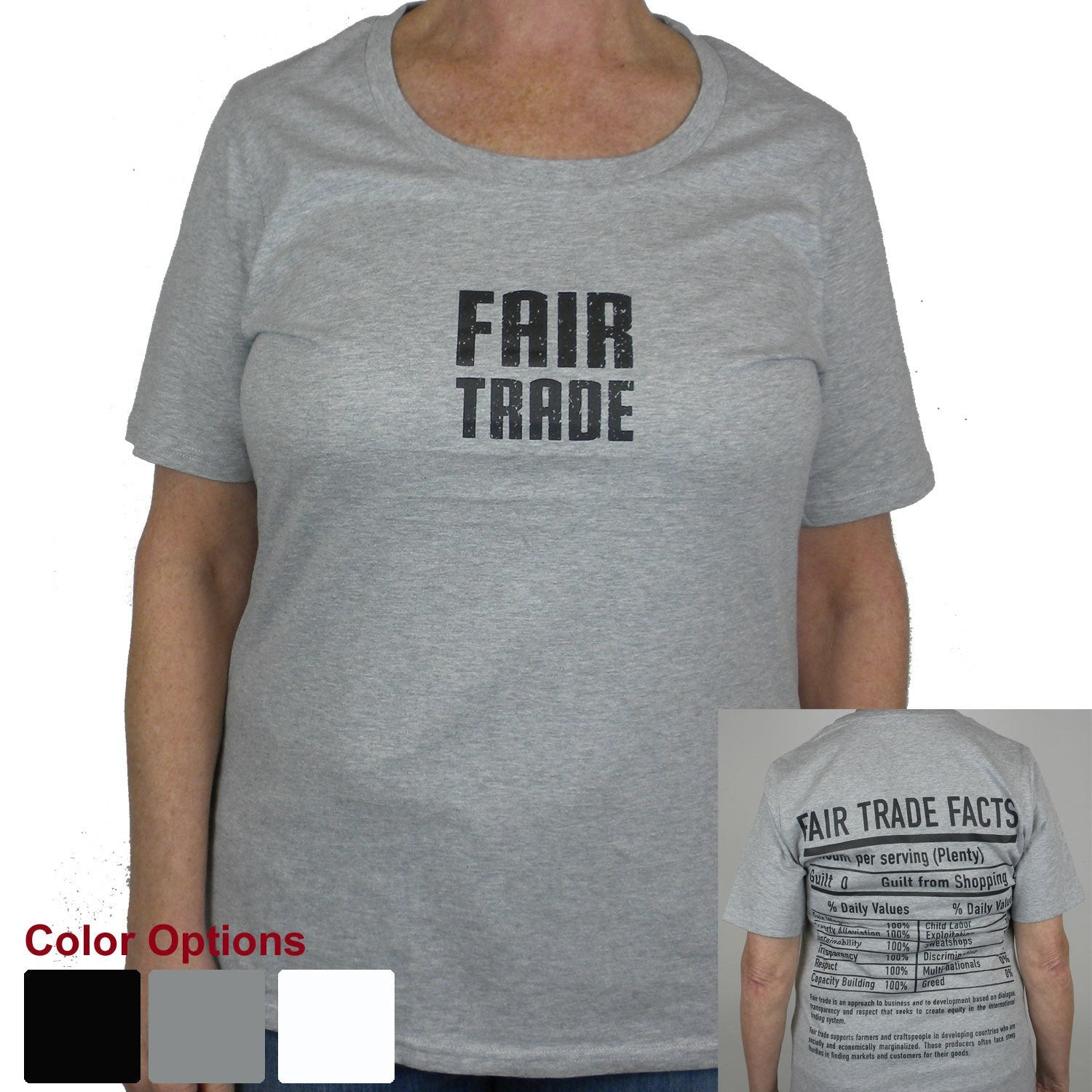 Gray Fitted Tee Shirt Small FT Front - FT Facts on Back - Large
