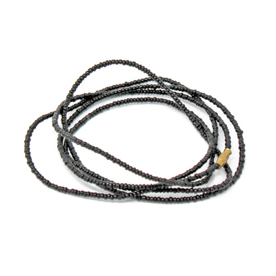Long Single Strand Maasai Bead Necklace, Black