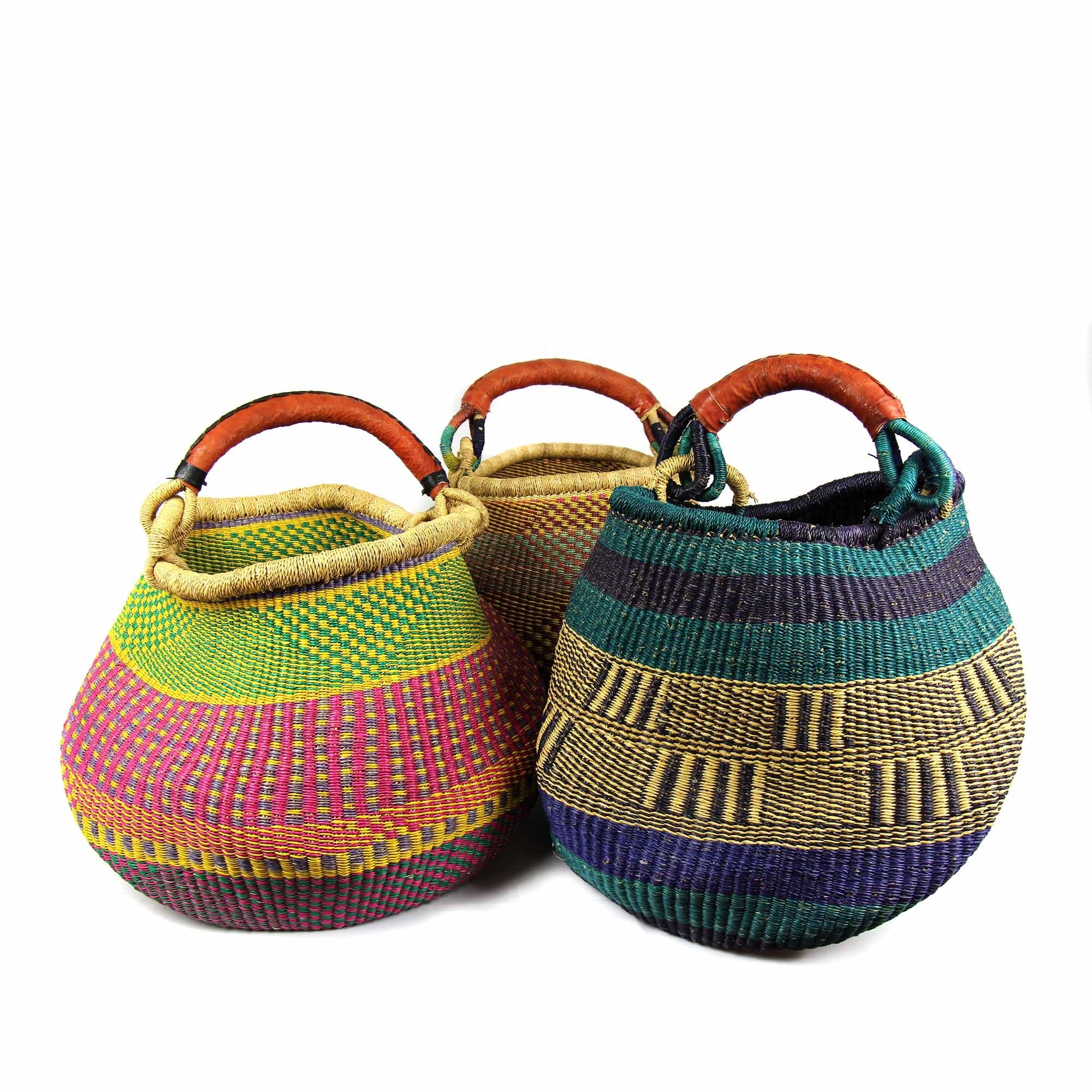 Bolga Pot Basket - Mixed Colors