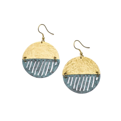 Nihira Earrings - Gold & Teal Medallion