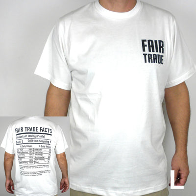 White Tee Shirt Small FT Front - FT Facts on Back - Large