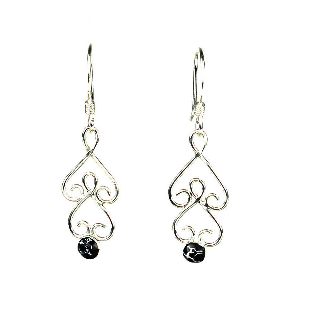 Silver Chandelier Earrings with Black Mosaic Stone